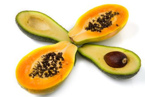 Papaya und Avocado